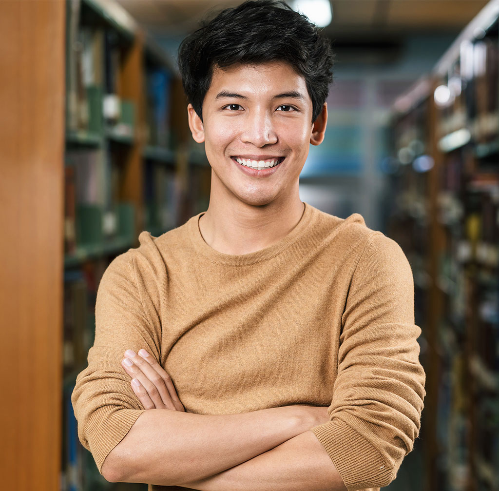 portrait of asian young student in casual suit in 55ZMYAN